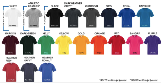 Youth tees colors